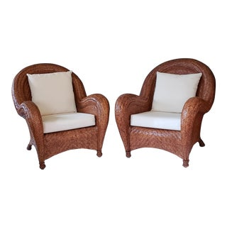 1980s Vintage Pair Rattan Lounge Chairs- A Pair For Sale