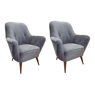 Vintage Mid-Century Italian Club Chairs-a Pair For Sale