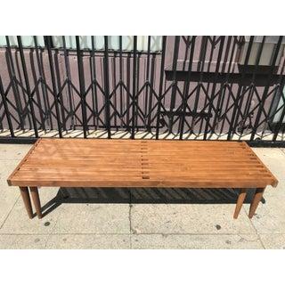 Mid-Century Walnut Slat Bench Preview