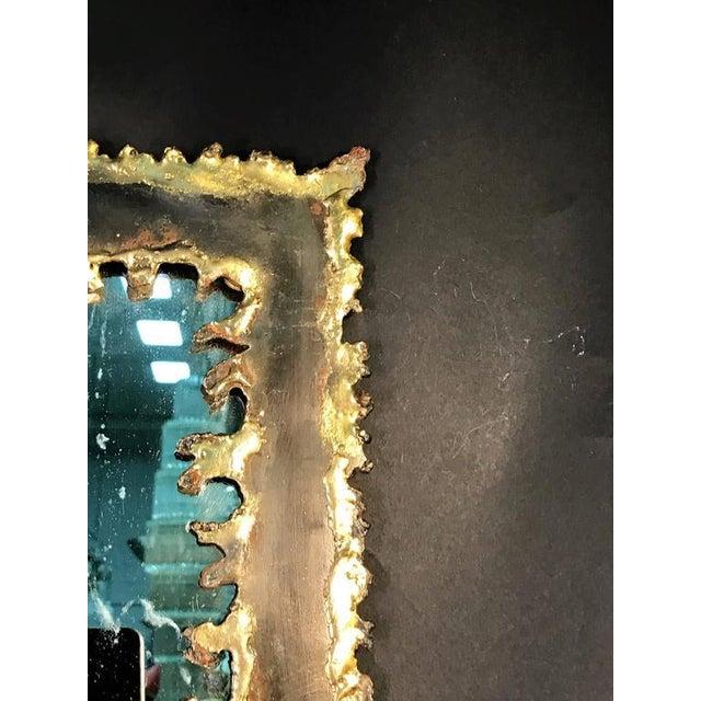 Brutalist Torch Cut Framed Rectangular Mirror For Sale - Image 4 of 7