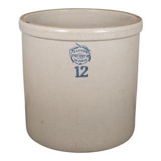 Antique Large Stoneware Bauer Pottery Crock #12 C. 1910-1930