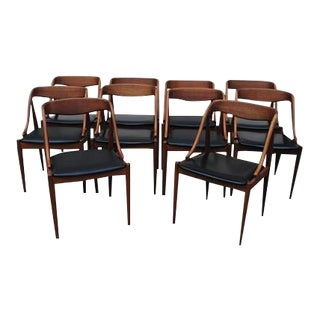Mid-Century Danish Teak Side Chairs by Johannes Anderson, C.1960 - Set of 10 For Sale