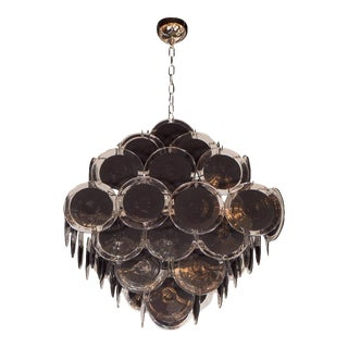 Ultra Chic Modernist Diamond Shaped Black Murano Glass Chandelier by Vistosi For Sale