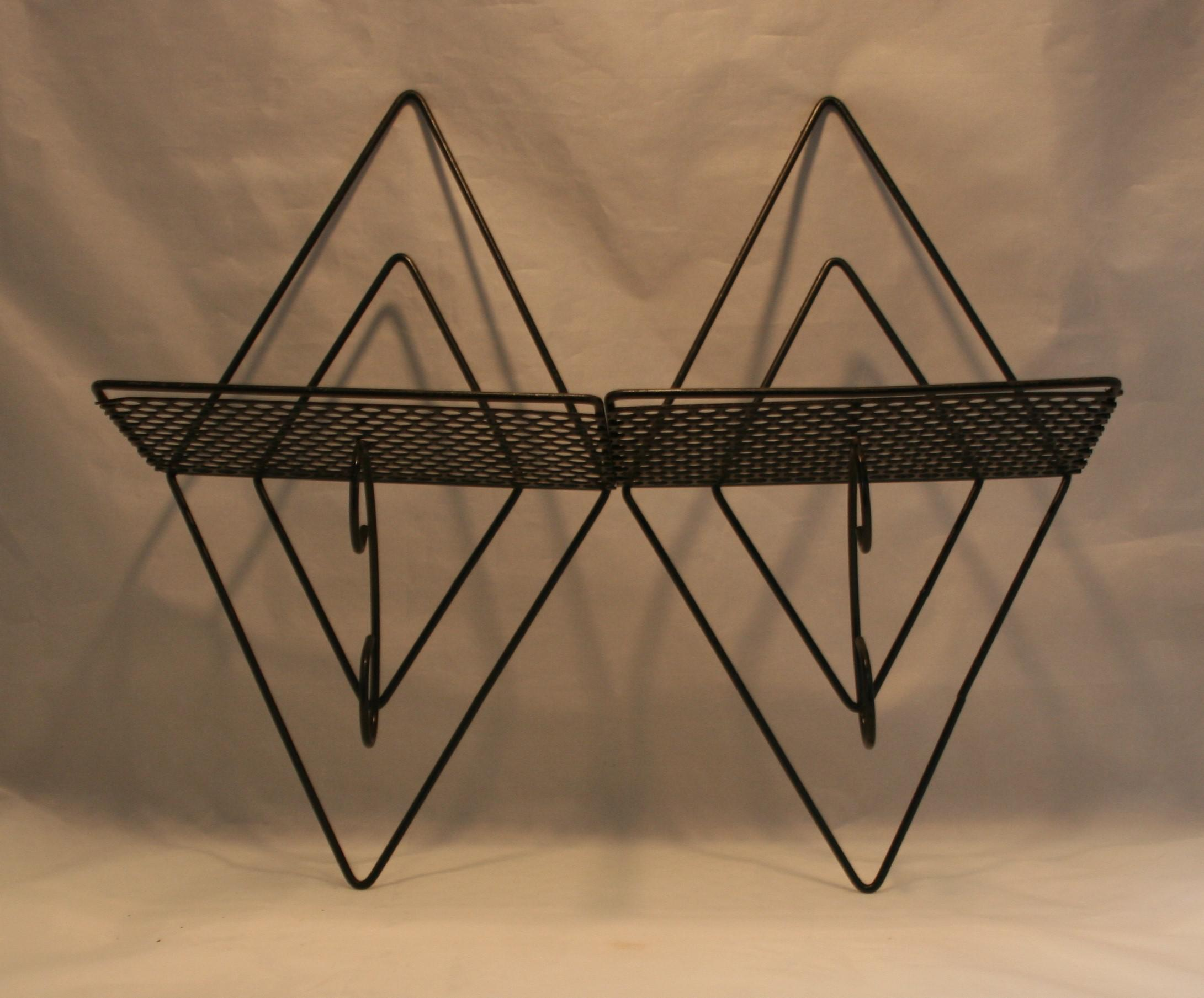 Black Wire Wall Shelving | Mid Century Modern Black Wire Punched Metal Diamond Shape Wall