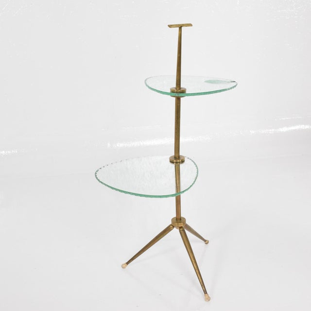 Mid Century Modern Italian Side Table Brass & Glass After Fontana Arte For Sale - Image 9 of 11