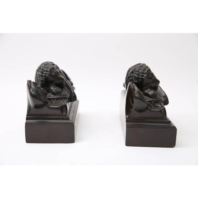 Bertel Thorvaldsen Bertel Thorvaldsen, Ahorn.Carved Book Ends Swiss Guard Lions of Lucerne, France For Sale - Image 4 of 10