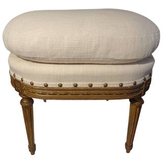 Late 19th Century Antique French Louis XVI Style Gilt Wood Ottoman For Sale