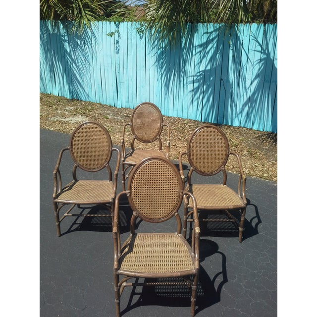 Rare Vintage McGuire Armchairs with Caned Oval Backs & Seats are tough to find. Many McGuire styles similar to these have...
