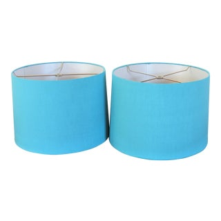 Pair of Silk Dupioni Blend Robin's Blue Drum Shades.