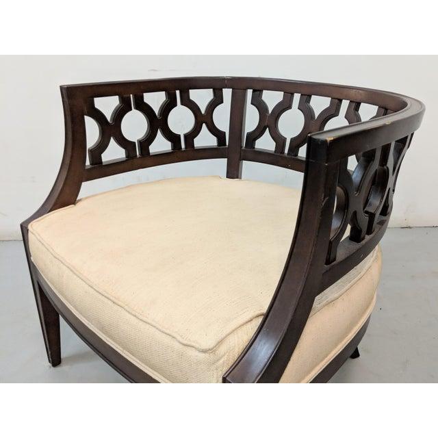 1970s 1970s Vintage Hollywood Regency Lattice Barrel Back Lounge Chair For Sale - Image 5 of 13