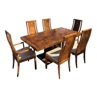 Mid Century Modern Burlwood Dining Set Table and 6 Chairs For Sale