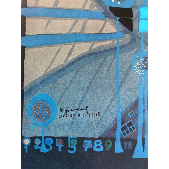 "Blue Friedensreich Hundertwasser ""One of Five Seamen"" 1975 Lithograph For Sale - Image 8 of 9"