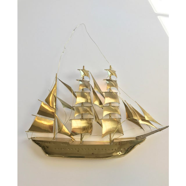 Mid-Century Modern Vintage Brass Ship Wall Sculpture For Sale - Image 3 of 3