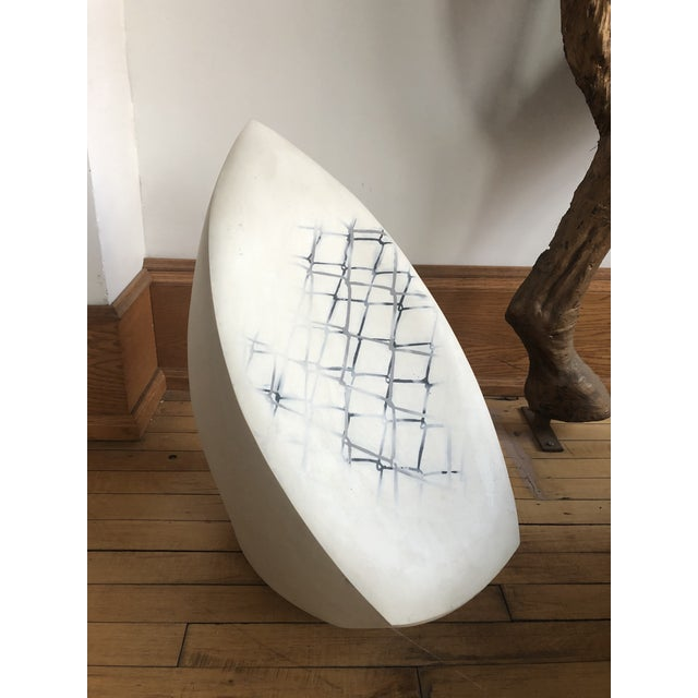 "Large Contemporary ""Pod"" ceramic sculpture with stenciled black and Gray abstract design. It is one of two from that..."