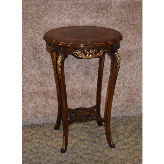 1950s French Carved & Inlaid Accent Table For Sale - Image 12 of 13