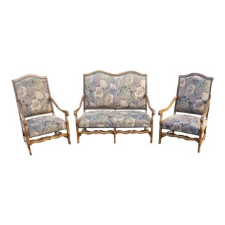Settees and Armchairs Solid Walnut Louis XIII Style Os De Mouton - Set of 3 For Sale