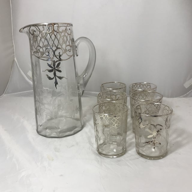 Etching Etched Silver Sterling Overlay Glass Pitcher & Glasses Set For Sale - Image 7 of 7