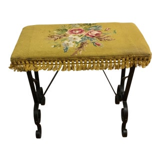 Bench - 1920s Vintage Needlepoint & Iron For Sale