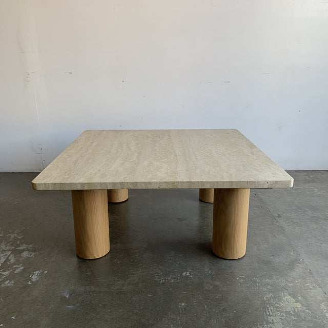 Rounded Edge Square Travertine Coffee Table For Sale - Image 4 of 13