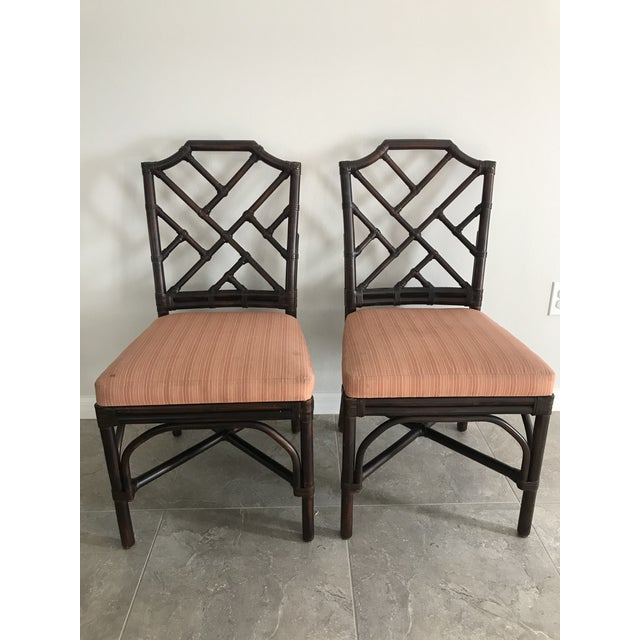 Palecek Pavilion Chippendale Upholstered Side Chairs - A Pair For Sale In Orlando - Image 6 of 6
