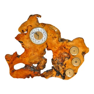 Custom Built Burl Wood Clock With Thermometer, Hygrometer & Barometer For Sale
