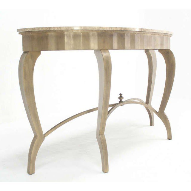 Very nice steel base marble top demilune console table.