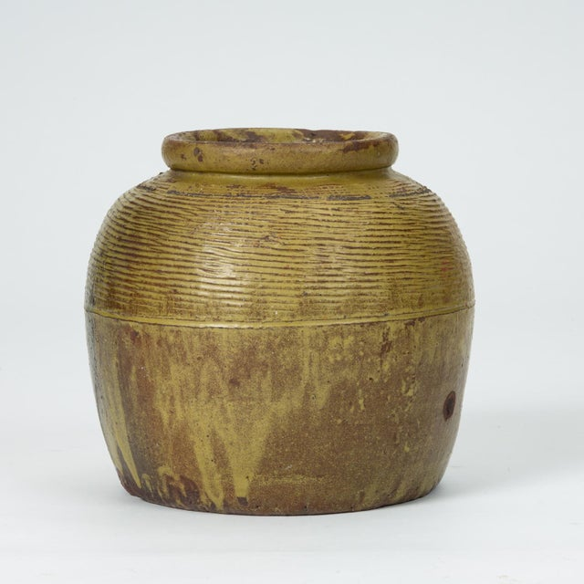 Hand-Thrown Garden Pot With Olive Green Glaze For Sale - Image 4 of 11