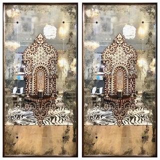 Antique Syrian Mirrored Panels Circa 1880- A Pair For Sale