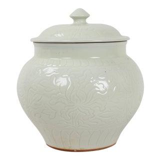 Porcelain Lidded Blanc De Chine Jar For Sale