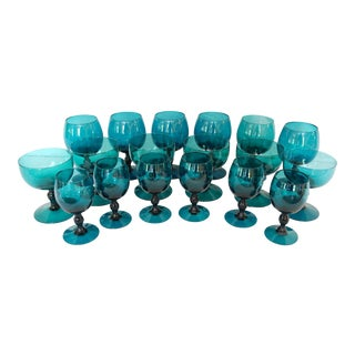 Contemoprary Teal Blue Blown Glass Wine Goblets - Set of 18