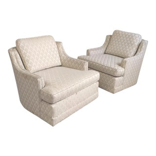 Mid Century Modern Swivel Club Chairs - A Pair