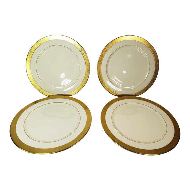Large Lenox Westchester Gold China M139 Presidential Charger Plates - Set of 4 For Sale