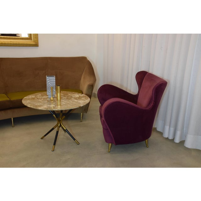 Italian Mid-Century Velvet Armchairs by ISA Bergamo, Set of Two, 1950s For Sale - Image 12 of 13