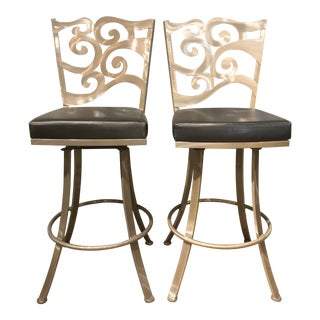 Modern Brushed Aluminum Bar Stools - a Pair For Sale