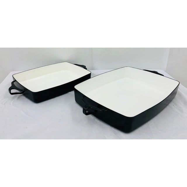 Vintage Black & White Enamel Casserole Dishes by Dansk - Set of 2 For Sale In Raleigh - Image 6 of 11