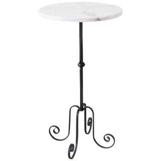 Late 20th Century Vintage Wrought Iron and Marble Top Drinks Table For Sale