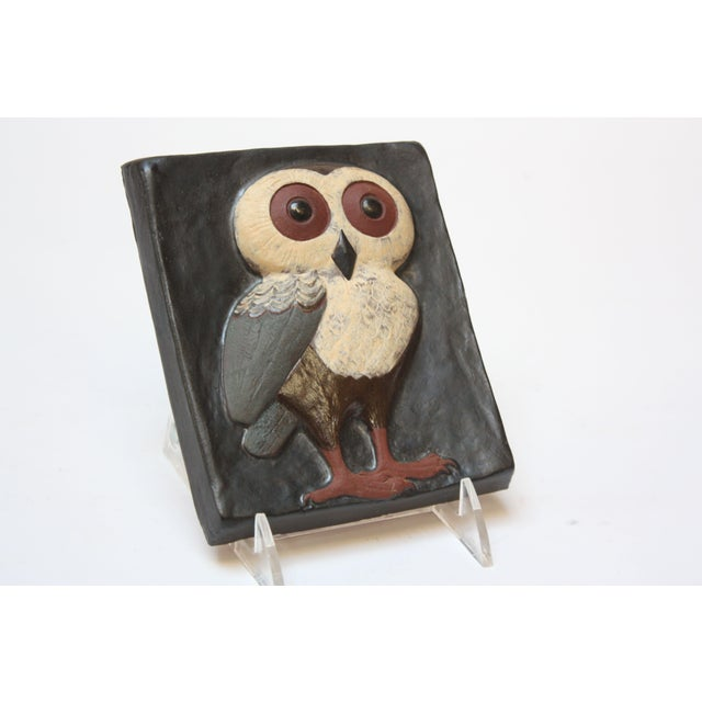 Black Danish Modern Terracotta 'Owl' Tile by Thyssen Keramik For Sale - Image 8 of 8