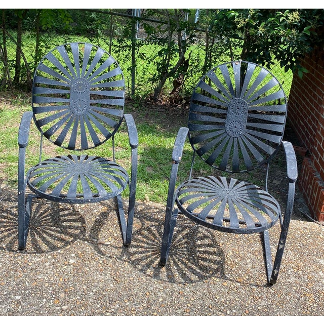 Metal 1930s Francois Carre Early Bouncy Chairs - a Pair For Sale - Image 7 of 8