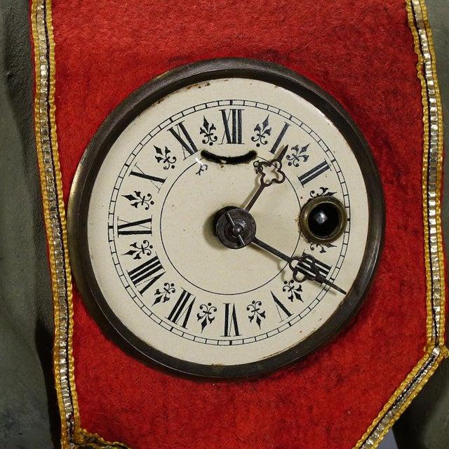 Red Rare Antique Elephant Clock, Circa 1920 For Sale - Image 8 of 9