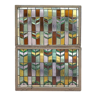 Early 20th Century Abstract Double Hung Multicolor Stained Glass Window For Sale