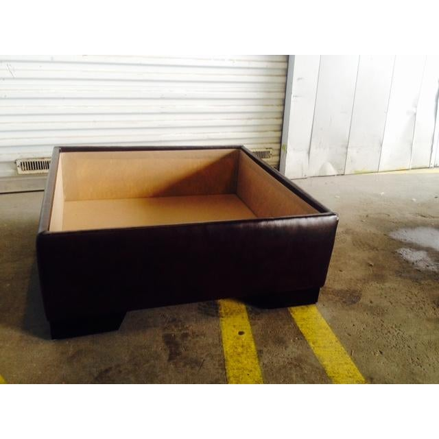 Brown Faux Leather Storage Ottoman For Sale In Chicago - Image 6 of 6