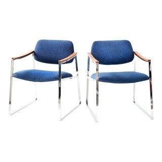 1960s Vintage Milo Baughman Probber Style Chrome Armchairs-a Pair For Sale