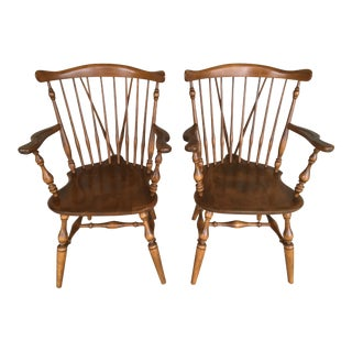 Ethan Allen Windsor Brace Back Nutmeg Dining Chairs - a Pair For Sale