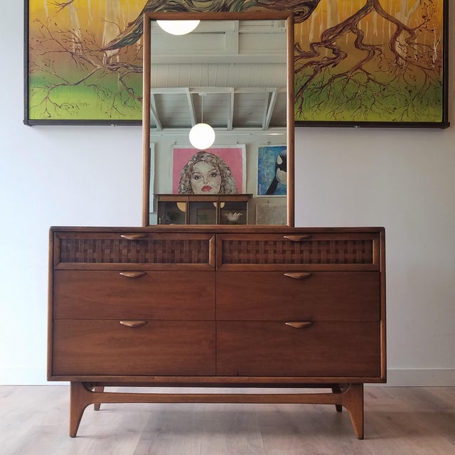 1960s Lane Perception Four Drawer Dresser With Mirror For Sale - Image 13 of 13