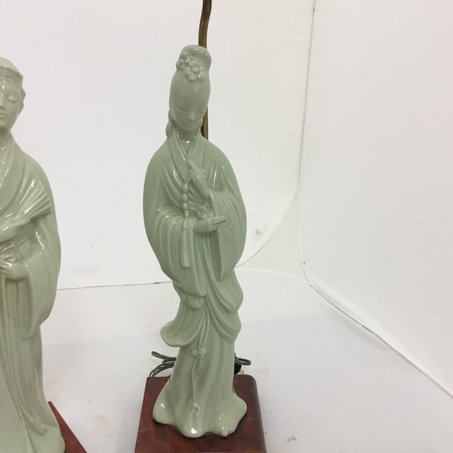 Tall Asian Man and Women Lamps- a Pair For Sale - Image 4 of 8