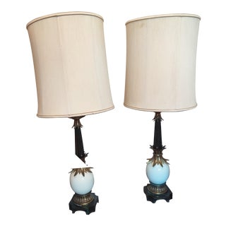 Vintage Stiffel Ostrich Egg Lamps With Lampshades - a Pair For Sale