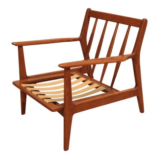Mid-Century Modern Wood Lounge Chair For Sale