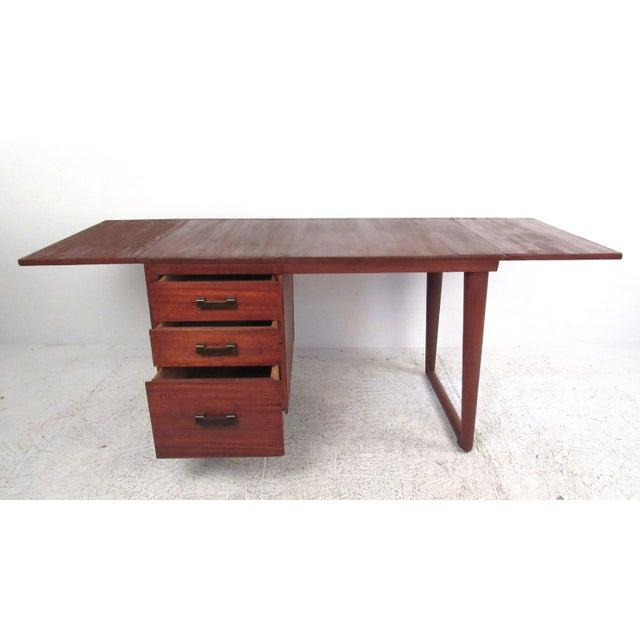 Sculptural Mid-Century Modern Drop-Leaf Writing Desk For Sale - Image 4 of 12