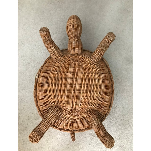 Late 20th Century Mid Century Mario Torres Lopez Style Chinoiserie Large Wicker Turtle Basket Planter For Sale - Image 5 of 7