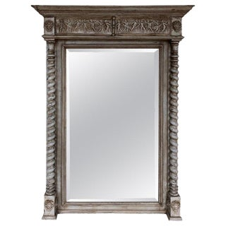 French Grey Painted Neoclassical Tall Mirror For Sale